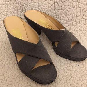 Like NEW!!!Gray  Linen Ferragamo Block Heels